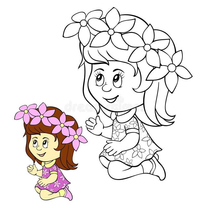 Crianças que colorem a menina da página imagem de stock royalty free