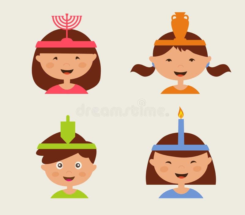 Crianças que comemoram o Hanukkah ilustração stock