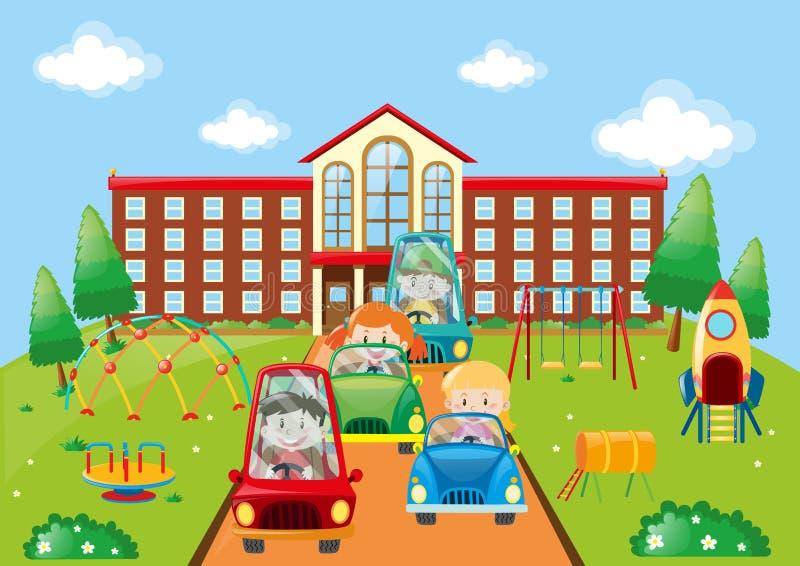 Crianças que conduzem carros à escola ilustração do vetor
