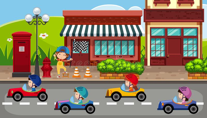 Crianças que conduzem carros na estrada ilustração royalty free