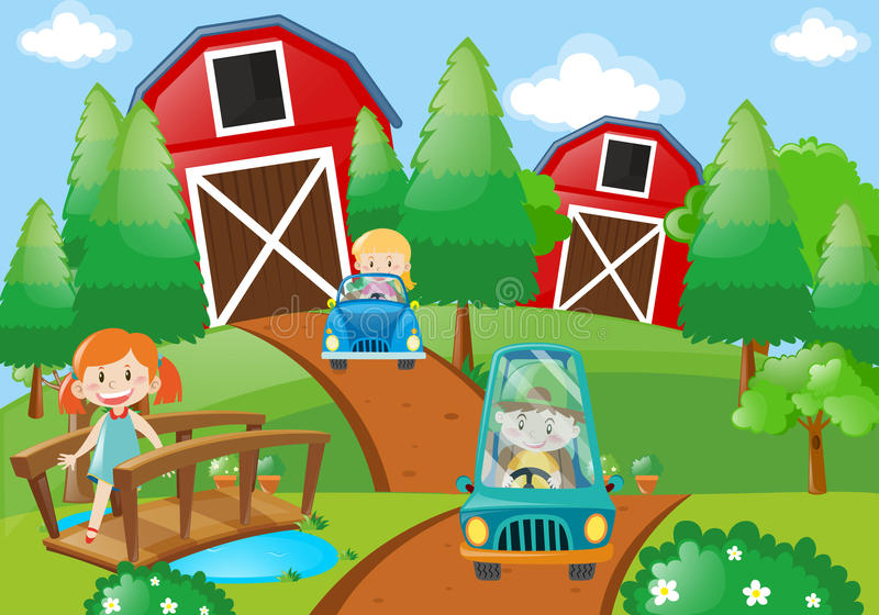 Crianças que conduzem carros na exploração agrícola ilustração stock