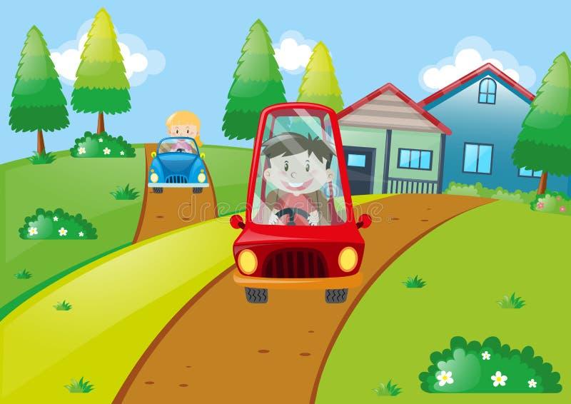 Crianças que conduzem carros pequenos na estrada ilustração do vetor