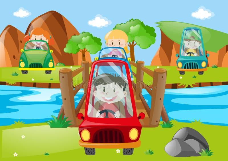 Crianças que conduzem o carro através da ponte ilustração stock
