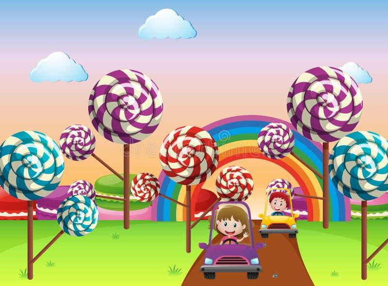 Crianças que conduzem o carro no país das maravilhas ilustração stock