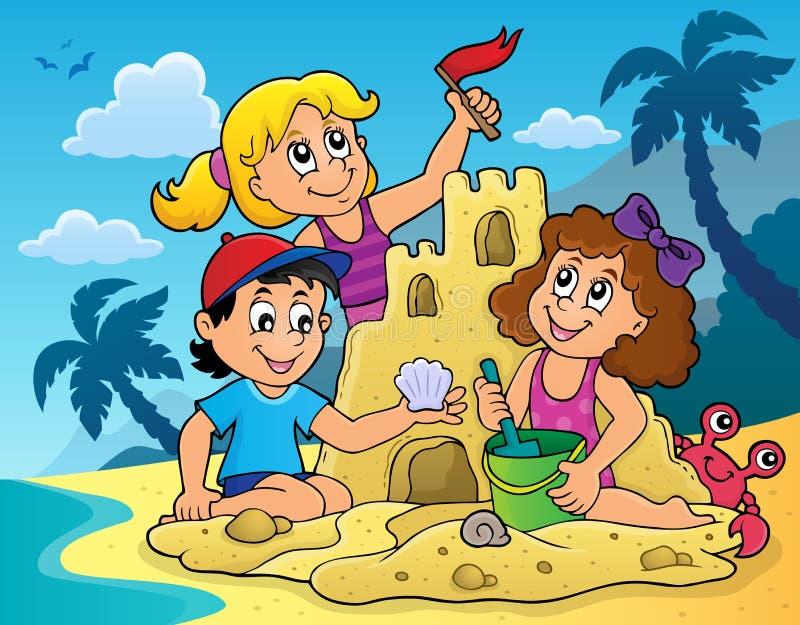 Crianças que constroem o tema 2 do castelo da areia ilustração stock