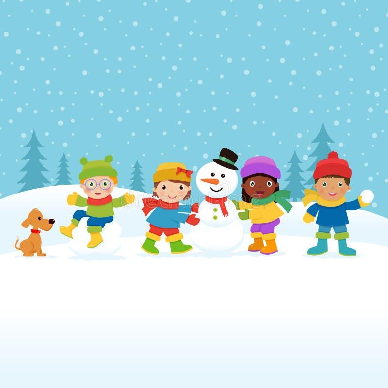 Crianças que constroem um boneco de neve ilustração do vetor