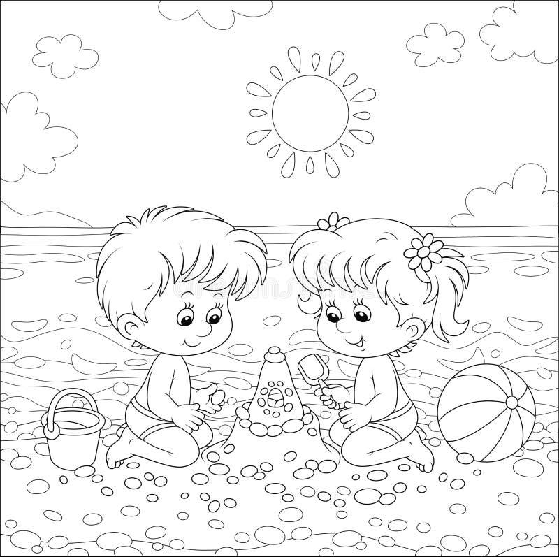 Crianças que constroem um castelo da areia em uma praia ilustração royalty free