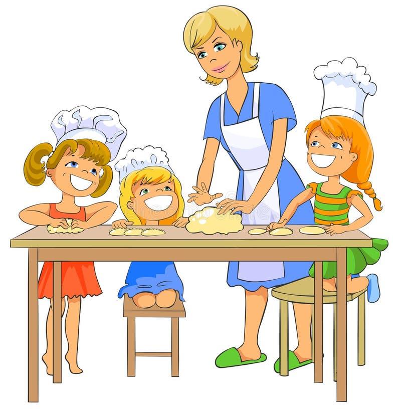 Crianças que cozinham o rissol com mamã. ilustração royalty free