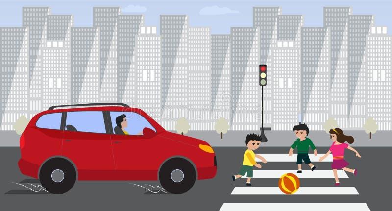 Crianças que cruzam a estrada com o carro vermelho no sinal vermelho ilustração stock