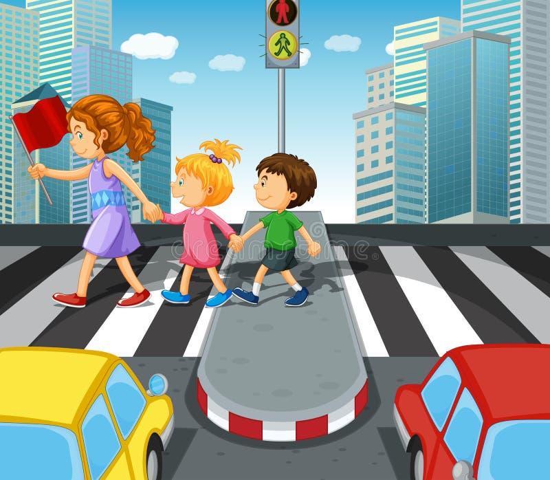 Crianças que cruzam a estrada no cruzamento de zebra ilustração royalty free