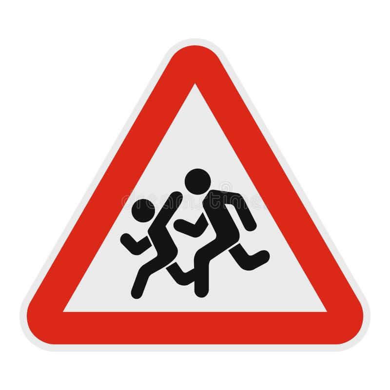 Crianças que cruzam o ícone da estrada, estilo liso ilustração do vetor