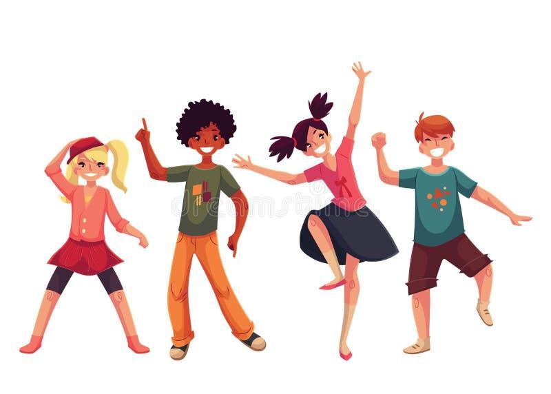 Crianças que dançam expressively, ilustração do vetor do estilo dos desenhos animados ilustração stock
