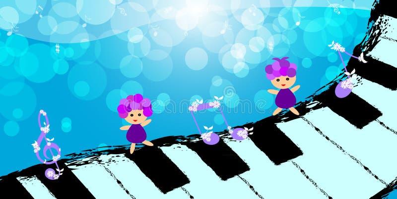 Crianças que dançam no teclado de piano ilustração stock