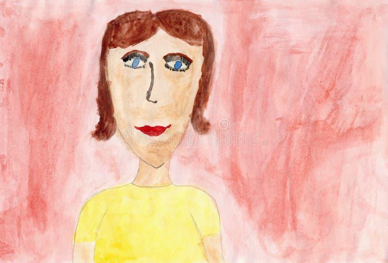 Crianças que desenham em um papel - retrato da matriz ilustração do vetor