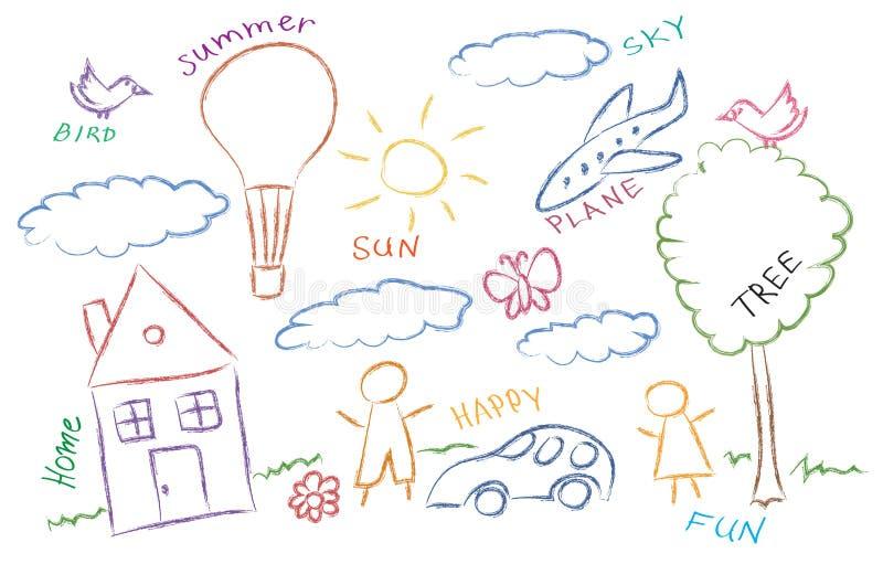 Crianças que desenham o jogo de símbolos colorido ilustração stock