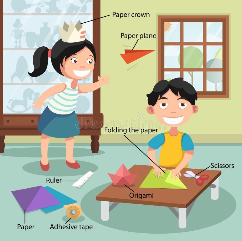 Crianças que dobram o papel, com vocabulário ilustração royalty free