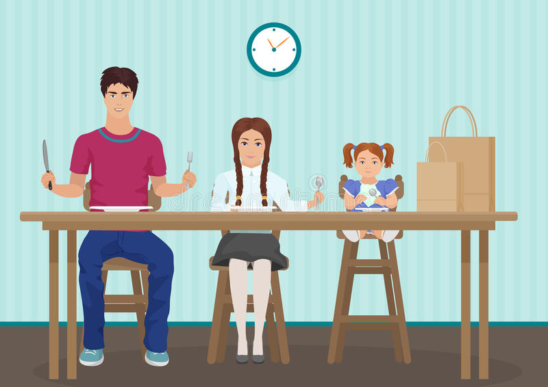 Crianças que esperam o jantar na cozinha Guardando uma colher e uma forquilha na mão Crianças com fome das crianças que esperam o ilustração stock