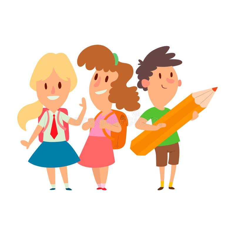 Crianças que estudam o vetor feliz indo do caráter da educação primária da infância do estudo das crianças da escola junto ilustração do vetor