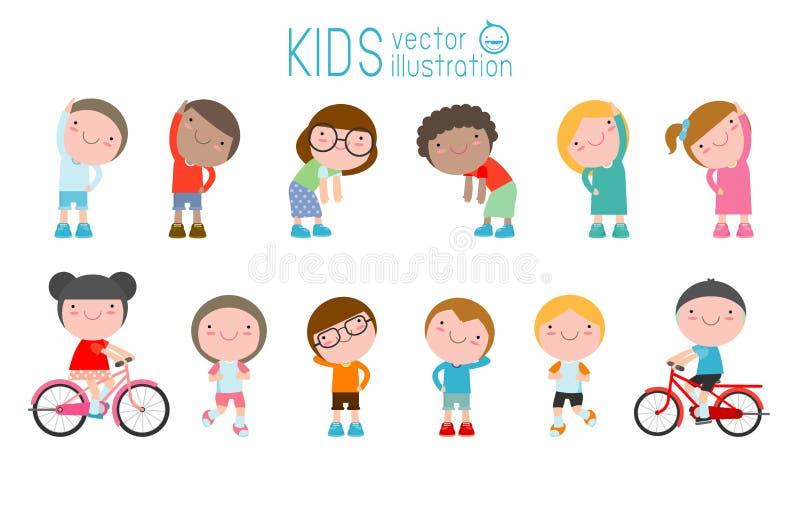 Crianças que exercitam, crianças que esticam, criança que exercita, crianças felizes que exercitam, ilustração bonito lisa do vet ilustração royalty free