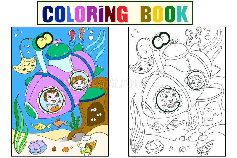 Crianças que exploram o mundo subaquático em páginas de uma cor do submarino para o vetor dos desenhos animados das crianças Colo ilustração royalty free