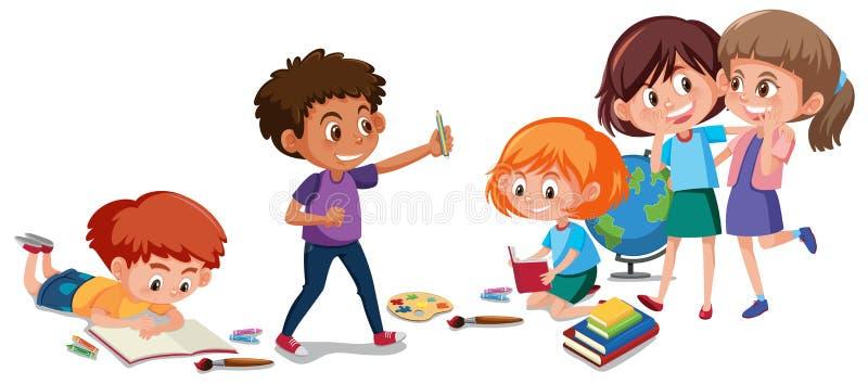 Crianças que fazem a atividade no fundo branco ilustração do vetor
