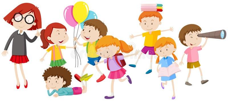 Crianças que fazem atividades diferentes ilustração do vetor