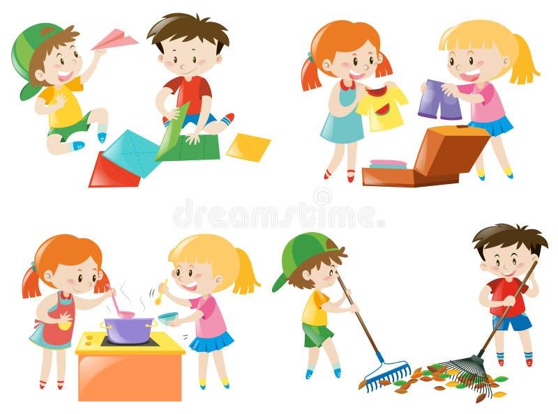 Crianças que fazem atividades diferentes ilustração royalty free