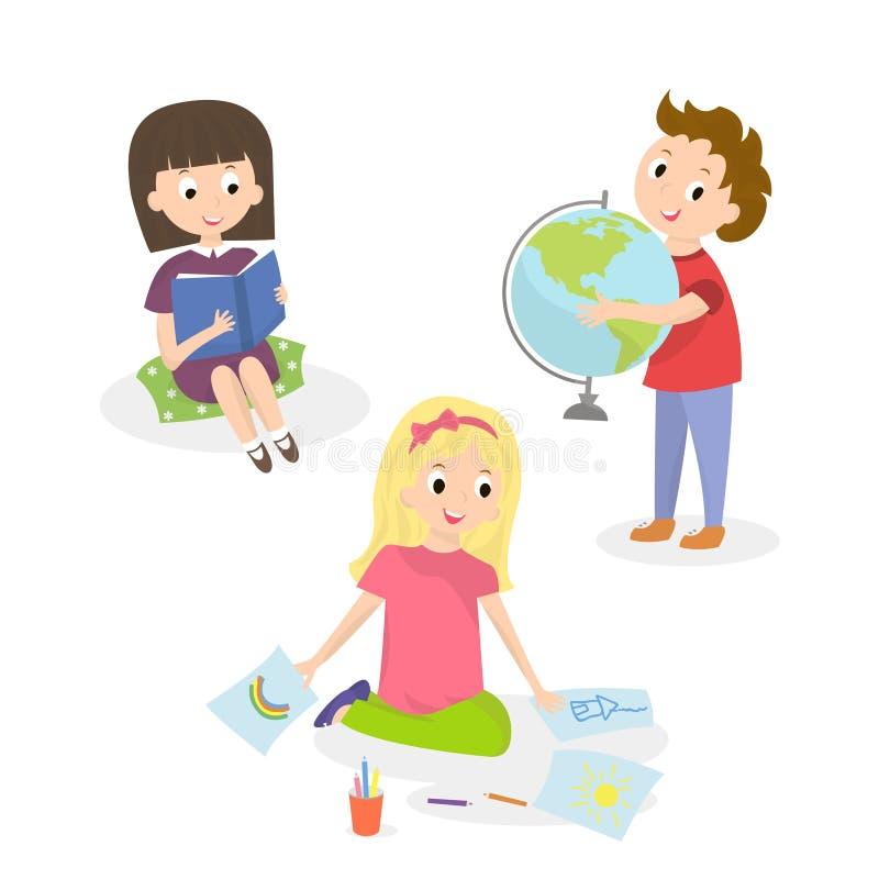Crianças que fazem atividades diferentes Pintura e estudo das crianças Ilustração do vetor ilustração stock