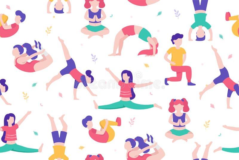 Crianças que fazem atividades e esportes na ilustração lisa do vetor do projeto Crianças no teste padrão sem emenda do parque iso ilustração royalty free