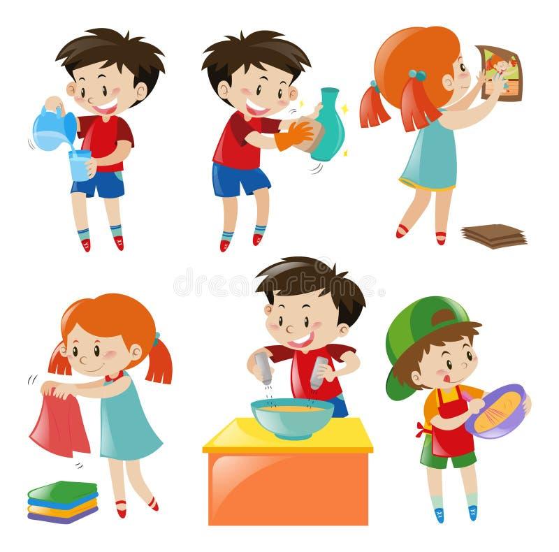 Crianças que fazem coisas diferentes ilustração do vetor