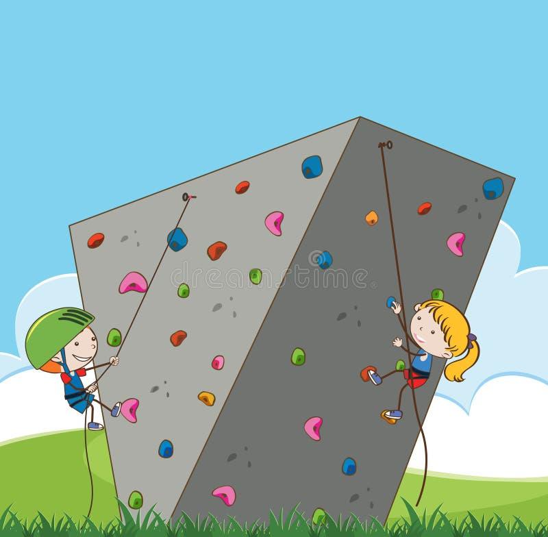 Crianças que fazem a escalada exterior ilustração royalty free