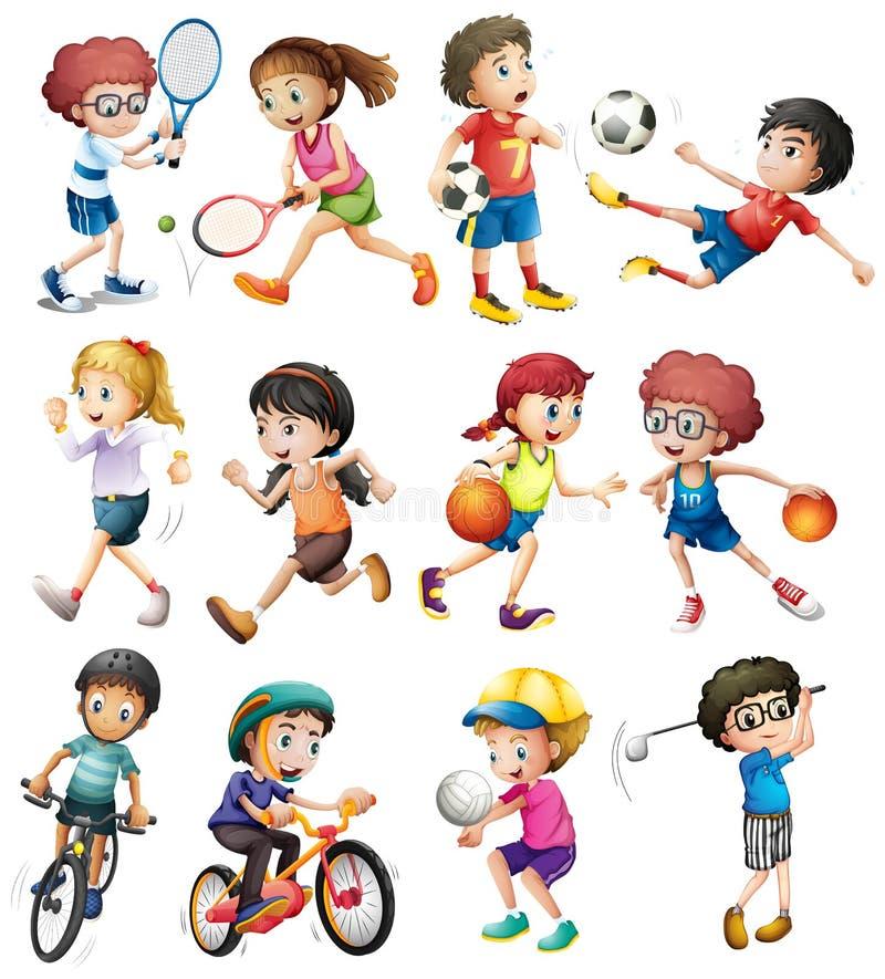 Crianças que fazem esportes diferentes ilustração royalty free