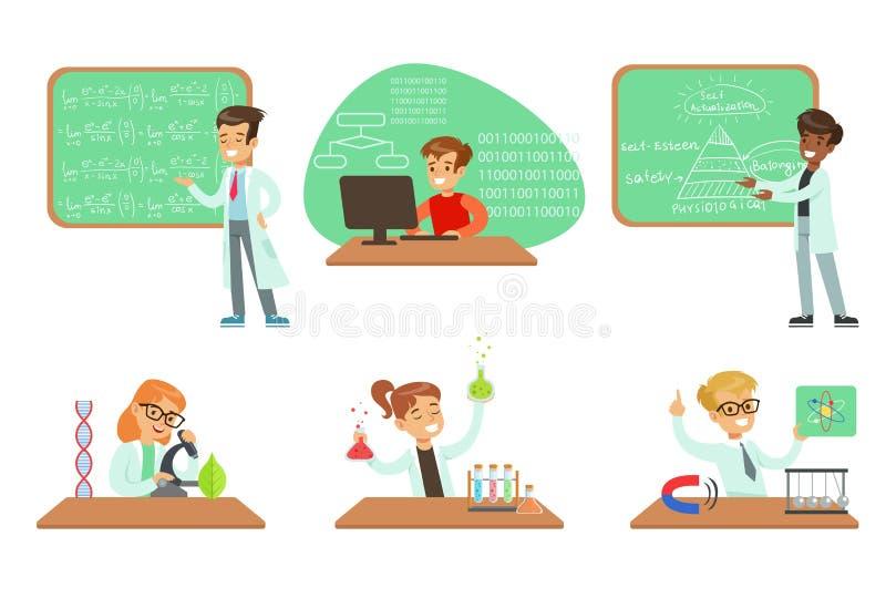 Crianças que fazem a pesquisa em laboratórios da classe da ciência da escola, atividades educacionais da ciência da ciência para  ilustração stock