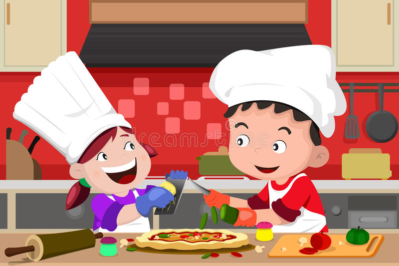 Crianças que fazem a pizza na cozinha ilustração royalty free