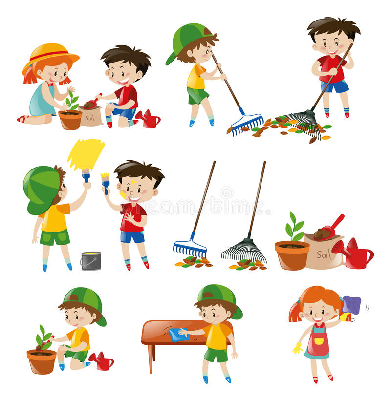 Crianças que fazem tarefas diferentes ilustração do vetor