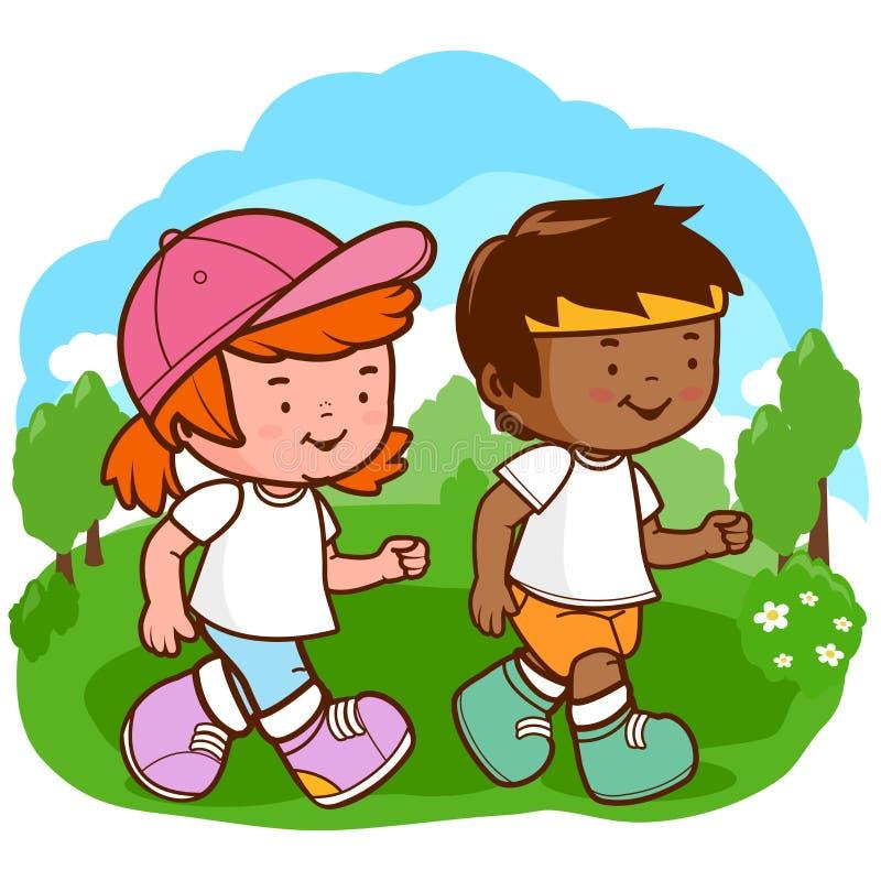 Crianças que funcionam no parque ilustração do vetor