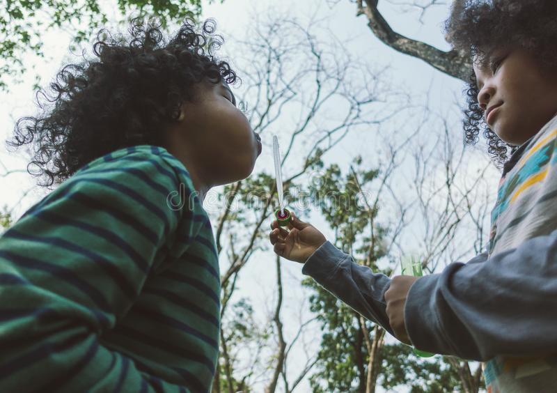 Crianças que fundem bolhas junto no campo fotos de stock