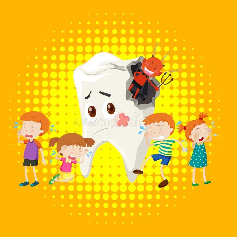 Crianças que gritam da deterioração de dente ilustração royalty free