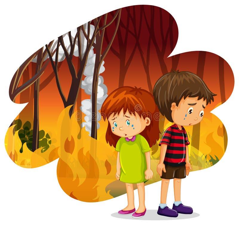 Crianças que gritam em Forest Wildfire Disaster ilustração royalty free