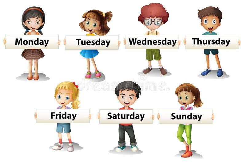 Crianças que guardam os cartões que dizem dias da semana ilustração royalty free