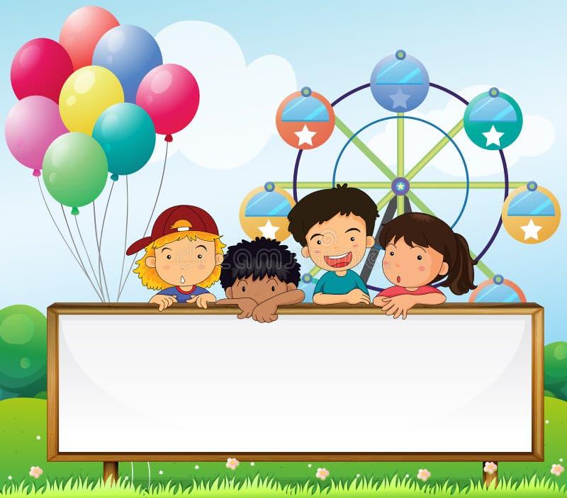 Crianças que guardam um quadro indicador vazio ilustração stock