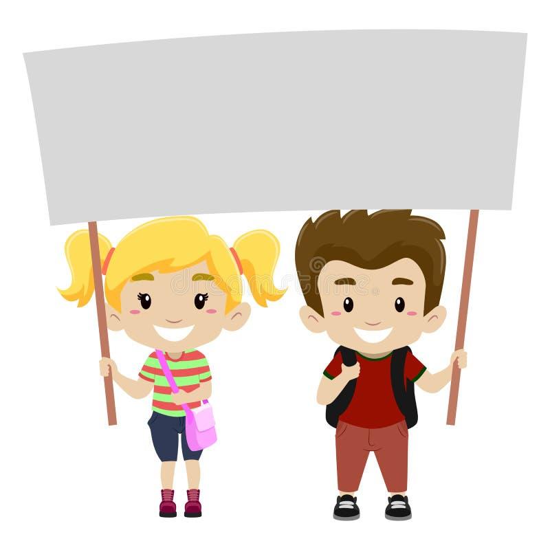 Crianças que guardam um Signage vazio ilustração do vetor