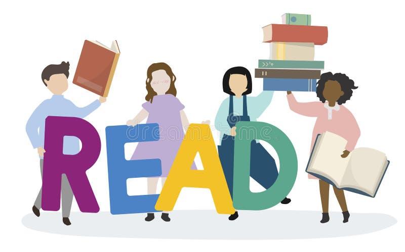 Crianças que inclinam-se para ler o inglês ilustração do vetor