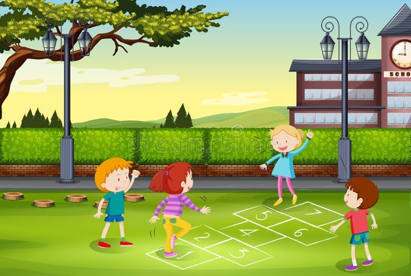 Crianças que jogam amarelinha no parque ilustração royalty free