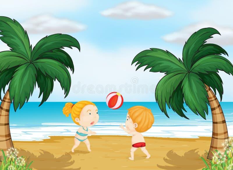 Crianças que jogam a bola ilustração do vetor