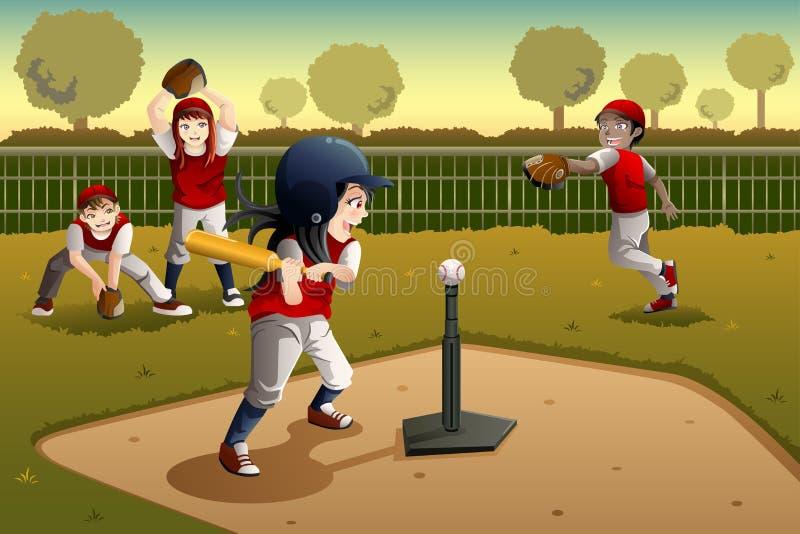 Crianças que jogam a bola do T ilustração royalty free