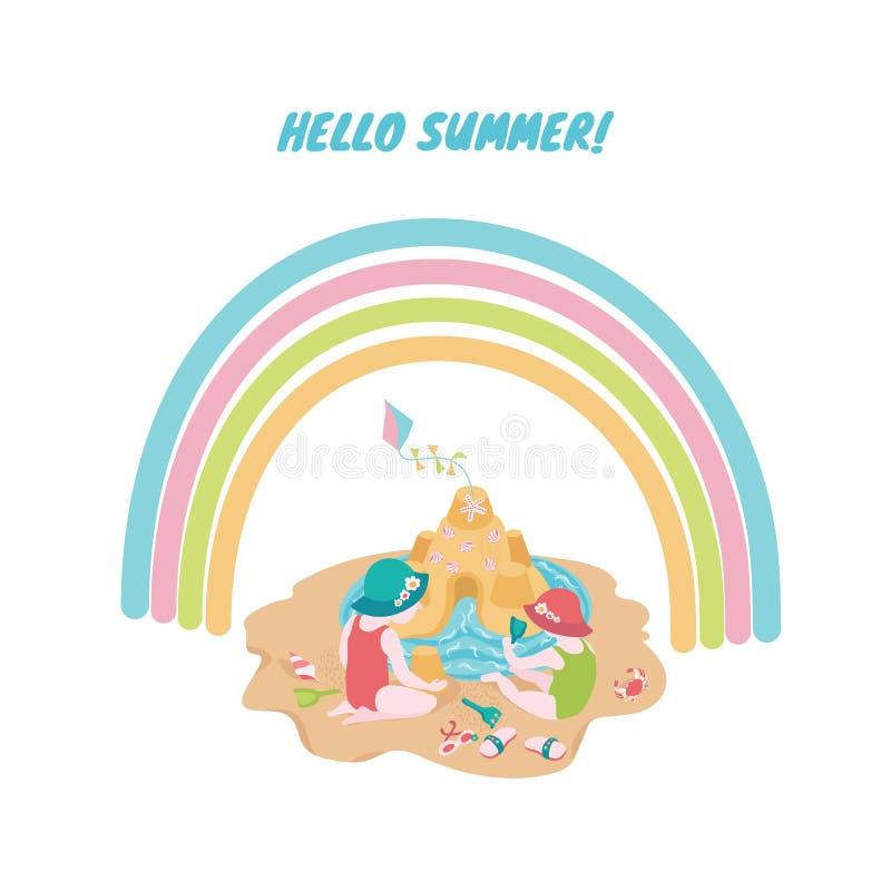 Crianças que jogam com a areia na praia sob o arco-íris Ilustração bonito do verão para a cópia da colocação, convite ilustração royalty free