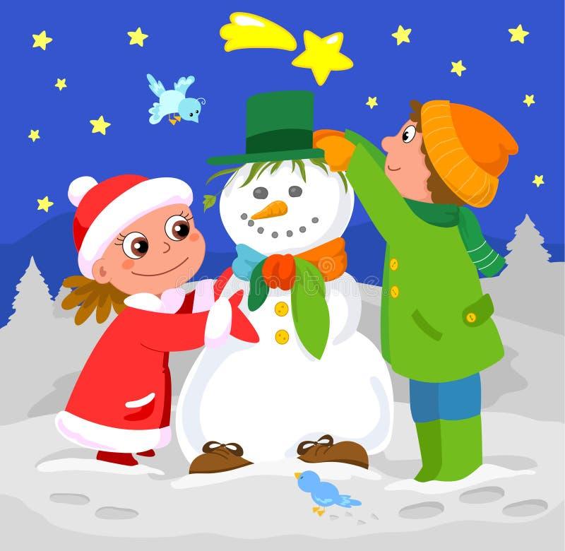 Crianças que jogam com boneco de neve ilustração do vetor