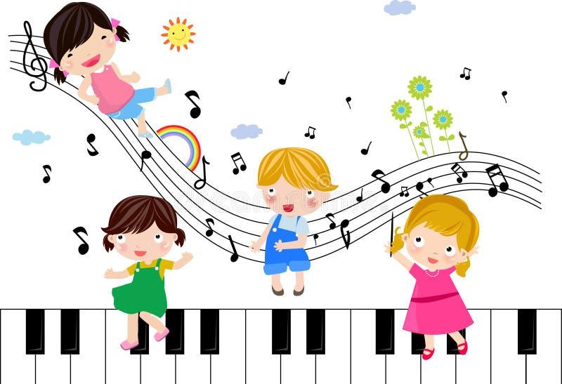 Crianças que jogam com notas musicais ilustração royalty free