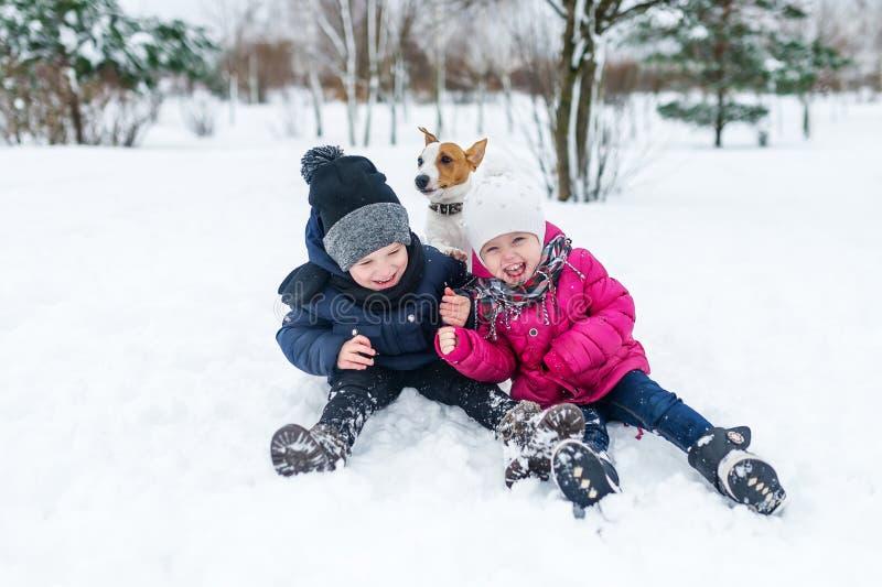 Crianças que jogam com o cachorrinho do terrier de Jack Russell no parque no inverno na neve foto de stock